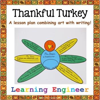 Thankful Turkey Lesson (Thankful Writing) Thanksgiving Art Lesson