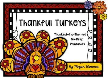 Thankful Turkeys Thanksgiving NO PREP Printables for PreK