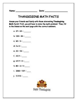 Thanksgiving Math Facts