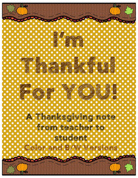 Teacher to Student Thanksgiving Note