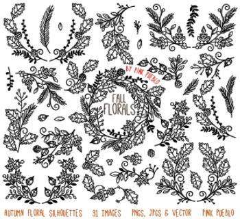 Thankgiving and Autumn Floral Silhouettes Clipart Clip Art