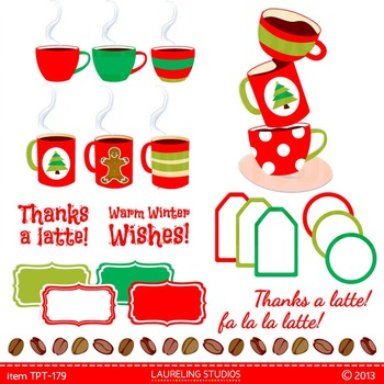 Thanks a Latte clipart for teacher gifts with digital fram