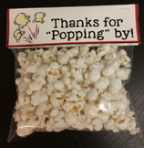 Thanks for Popping By! Popcorn Label for Open House or Bac