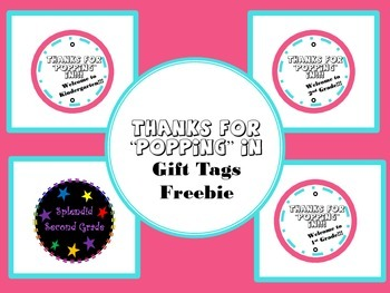 """Thanks for """"Popping"""" In Gift Tag Freebie"""