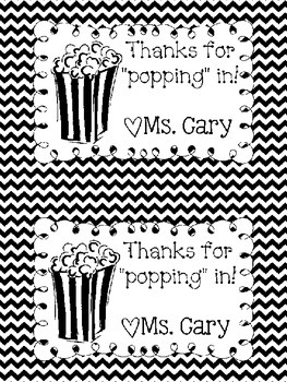 "Thanks for ""popping"" in!- Black&White"