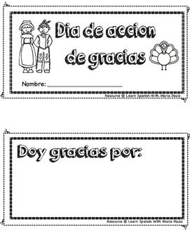 Thanks giving day book in spanish (dia de accion de gracias)