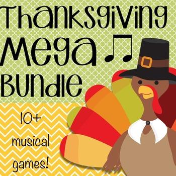 Thanksgiving Music Game Mega Bundle- 10+ Games and Activities!