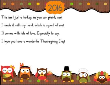Thanksgiving 2016 Turkey Handprint Poem With an Owl Theme