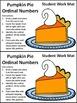Thanksgiving Math Activities: Pumpkin Pie Ordinal Numbers