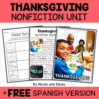 Nonfiction Thanksgiving Unit Activities