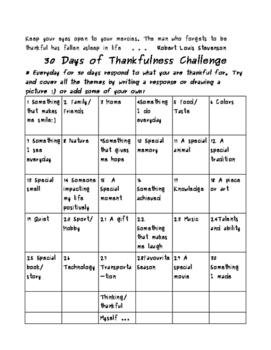 Thanksgiving  - 30 Days of Thankfulness Writing Challenge