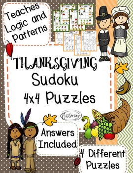 Thanksgiving 4x4 Sudoku Puzzles - Worksheet and File Folder Game