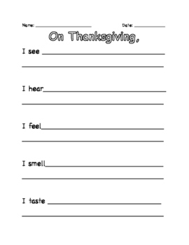 Thanksgiving 5 Senses Writing