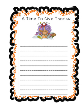 Thanksgiving-A Time To Give Thanks Writing Paper