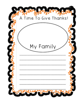 """Thanksgiving"""" A Time to Give Thanks""""  Writing Paper"""
