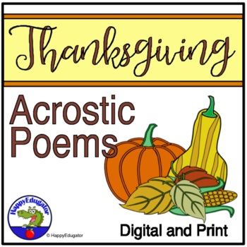 Thanksgiving Writing - Acrostic Poems