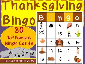 Thanksgiving Activities: Math Bingo