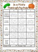 Thanksgiving Choice Board Writing Activities, Game, Rubric