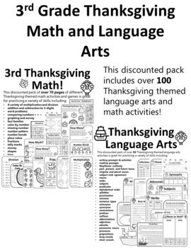 FULL SET Thanksgiving Activities 3nd Grade Math & Language