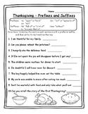 Thanksgiving Activities Grammar - Prefixes and Suffixes -