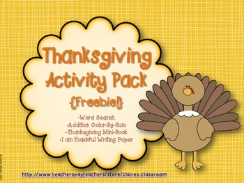Thanksgiving Activity Pack Freebie