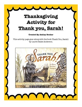 "Thanksgiving Activity for ""Thank You, Sarah"" Book"