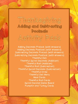 Thanksgiving Adding and Subtracting Decimals Activity Pack