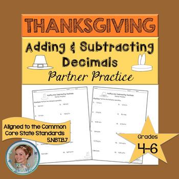 Thanksgiving Adding and Subtracting Decimals Partner Practice