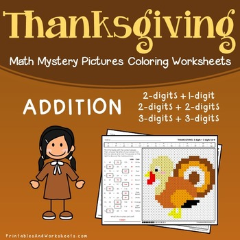 Thanksgiving Addition Coloring Worksheets