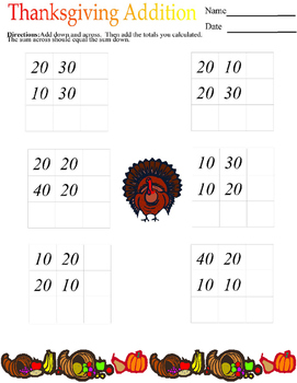 Thanksgiving Addition Squares-Template