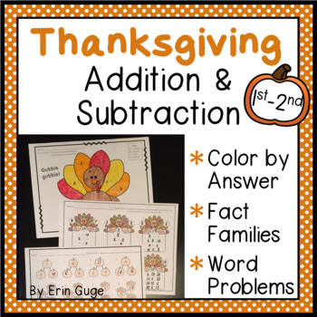 Thanksgiving Addition and Subtraction: Color By Number, Fa