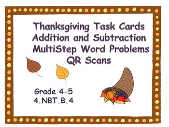Thanksgiving  Addition and Subtraction Word Problems Task