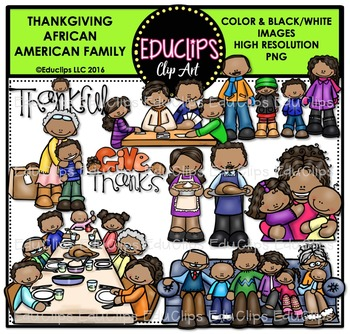 Thanksgiving African American Family Clip Art Bundle