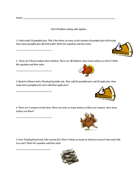 Thanksgiving Algebra Word Problems