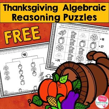 Thanksgiving Algebraic Reasoning Puzzles- Four Free Puzzles!