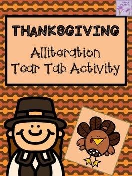 Thanksgiving Alliteration Tear Tab Activity