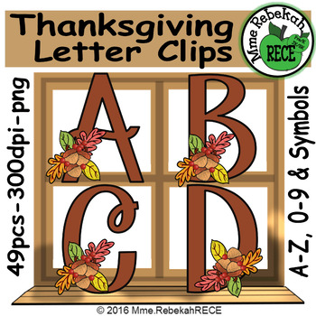 Thanksgiving Alphabet and Number Clip Set Commercial and P