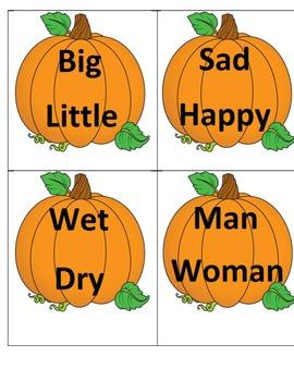 Thanksgiving Antonym Pumpkin Puzzle