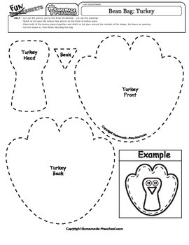 Thanksgiving Bean Bag Pattern: Turkey