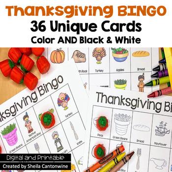 Thanksgiving Bingo - 36 Unique cards in color and black & white
