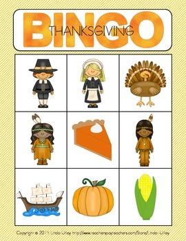 Thanksgiving Bingo Activity for Preschool and Kindergarten