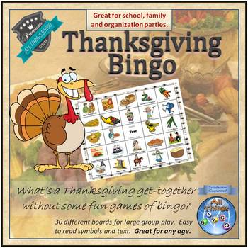 Thanksgiving Bingo Game - 30 Boards! - Grades 2+