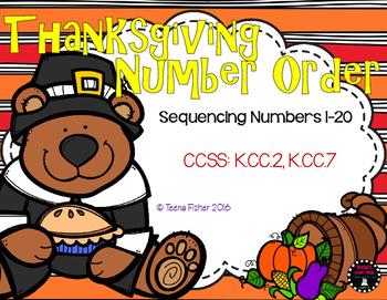Thanksgiving Buddies Sequencing 1-20 Fall Math File Folder