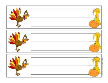 Thanksgiving Cartoon Turkey Name Plates for Desk or Table