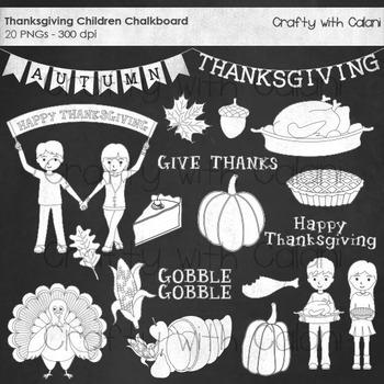 Thanksgiving Chalkboard Clipart, Thanksgiving Children Cha