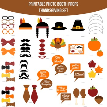 Thanksgiving Chevron Printable Photo Booth Prop Set