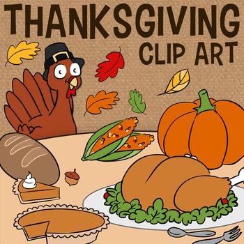 Thanksgiving Clip Art, Fall Turkey Feast -- Pumpkin Pie, B