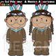Thanksgiving Clip Art - Pilgrims and Native Americans {jen