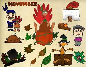 Thanksgiving ClipArt Hand Drawn November