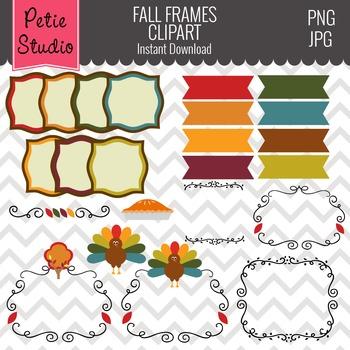 Thanksgiving Clipart // Fall Digital Ribbons // Autumn Dig